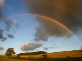 Rainbow over the fields Wallpaper Landscape Nature