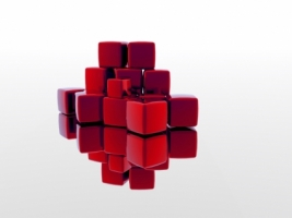 Red Blocks Wallpaper Abstract 3D