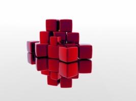 Red Blocks Wallpaper Abstract 3D