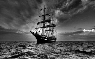 Sailing Ship in Dark