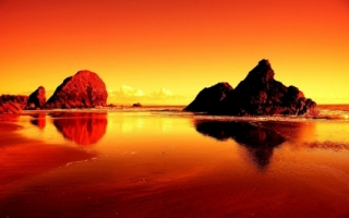 Shores Of Fire Wallpaper Landscape Nature