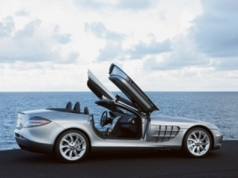 SLR Roadster 2008 Open Doors Wallpaper Mercedes Cars