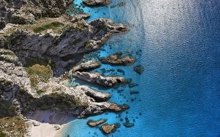 Sunny Shore Aerial view Capo Vaticano Italy