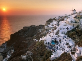 Sunset on the Island of Santorini Wallpaper Greece World