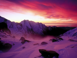 Sunset Over Franz Josef Glacier New Zealand