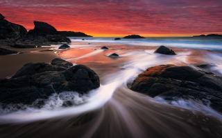 Sunset Rocks Shore Beach Stream