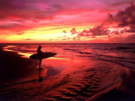 Surfer at Twilight Hawaii