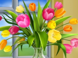 Tulips vector Wallpaper Vector 3D