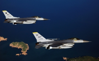 Two F 16 Fighting Falcon Aircrafts