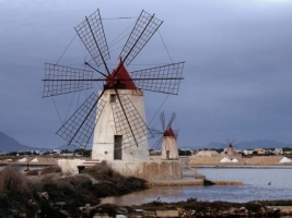 Windmills at Infersa Salt Pans Wallpaper Italy World